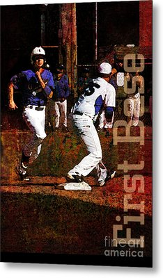 First Base Metal Print by John Turek