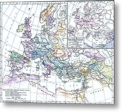 First Crusade Map  Metal Print by Pg Reproductions