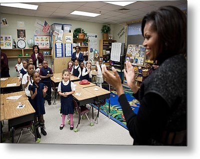 First Lady Michelle Obama Claps Metal Print by Everett