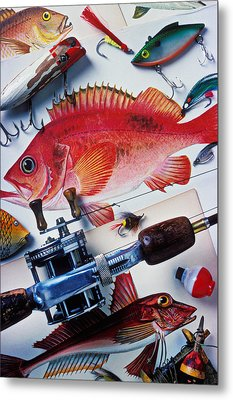 Fish Bookplates And Tackle Metal Print by Garry Gay