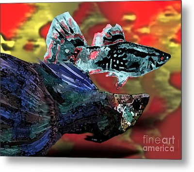 Fish In Digital Art Metal Print by Mario Perez