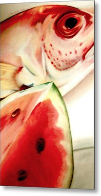 Fish Out Of Watermelon Metal Print by Joan Pollak
