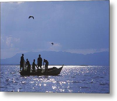 Fishermen Pulling Fishing Nets On Small Metal Print by Axiom Photographic