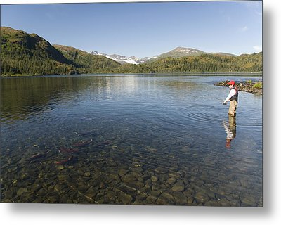Fishing At Shrode Lake Metal Print by Gloria & Richard Maschmeyer