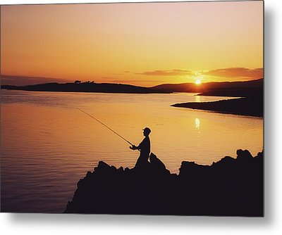 Fishing At Sunset, Roaring Water Bay Metal Print by The Irish Image Collection