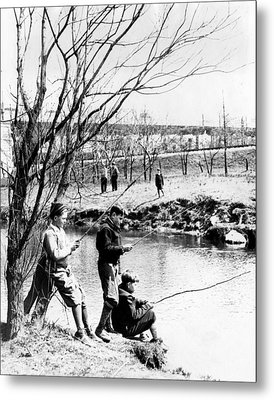 Fishing In The Bronx River,  New York Metal Print by Everett