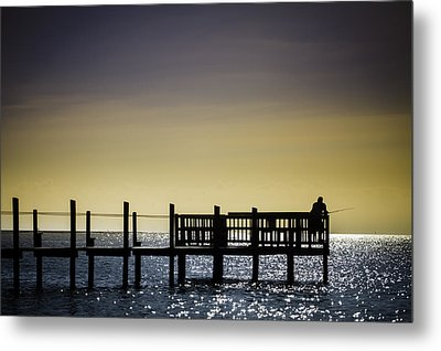 Fishing The End Of The Pier Metal Print by Mabry Campbell