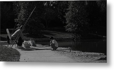 Fishing With Grandpa Metal Print by Anna Villarreal Garbis