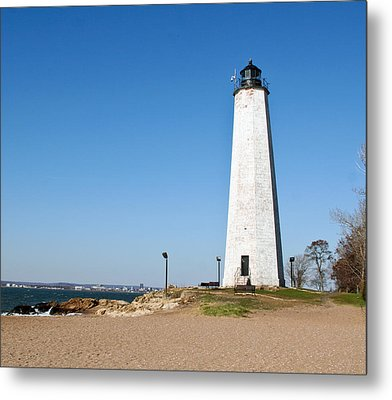 Five Mile Point Light Metal Print by Gerald Mitchell
