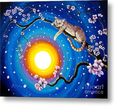 Flame Point Siamese Cat In Cherry Blossoms Metal Print by Laura Iverson
