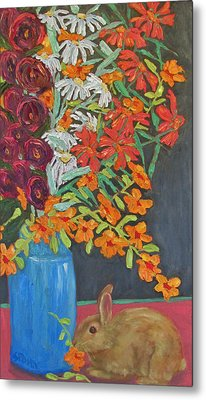 Floral Bouquet And Bunny Metal Print by Susan  Spohn