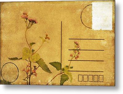 Floral Pattern On Postcard Metal Print by Setsiri Silapasuwanchai