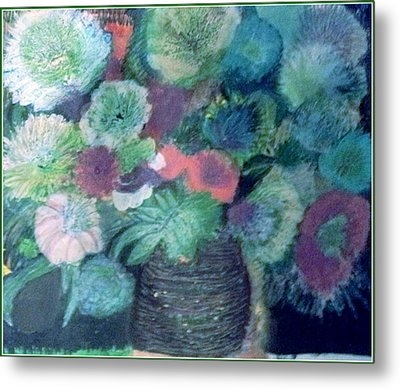 Floral With Blues Metal Print by Anne-Elizabeth Whiteway