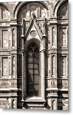 Florence Italy - Duomo Stained Glass - 02 - Sepia Metal Print by Gregory Dyer