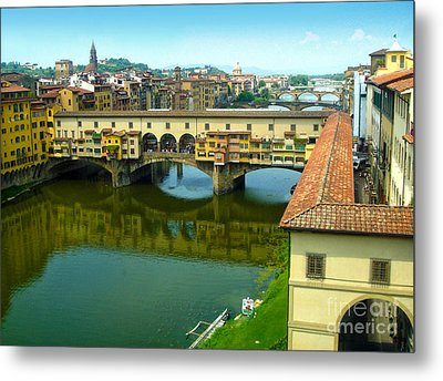 Florence Italy - Ponte Vecchio From The Uffizzi Metal Print by Gregory Dyer