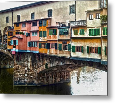 Florence Italy - Ponte Vecchio Metal Print by Gregory Dyer