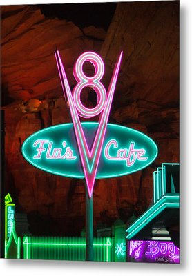 Flo's V8 Cafe - Cars Land - Disneyland Metal Print by Heidi Smith