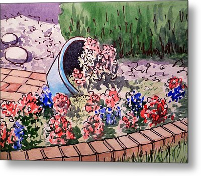 Flower Bed Sketchbook Project Down My Street Metal Print by Irina Sztukowski