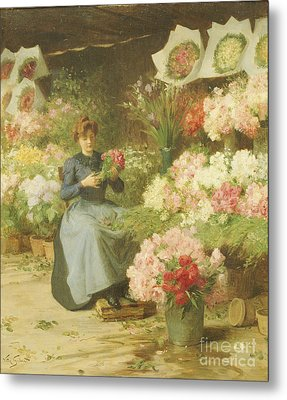 Flower Seller In Front Of The Madeleine Church Metal Print by Victor Gabriel Gilbert