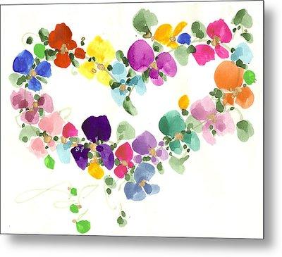 Flowers In My Heart Metal Print by Darlene Flood