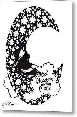 Flowers On The Moon Metal Print by Dan Keough