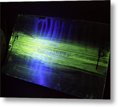 Fluorescent Dye Penetrant Test Results Metal Print by Paul Rapson