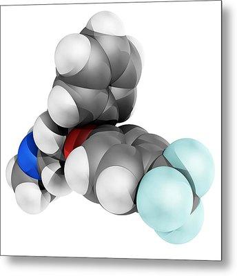 Fluoxetine Antidepressant Drug Molecule Metal Print by Laguna Design