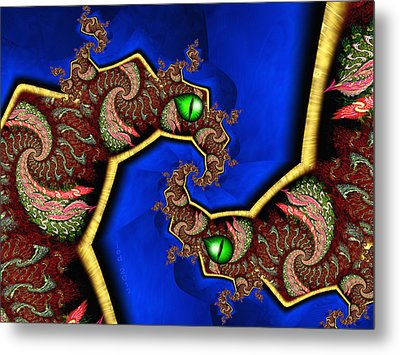 Foerever Twin Dragons Metal Print by Josette Dery