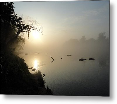 Fog On The White River Metal Print by Heather Owen