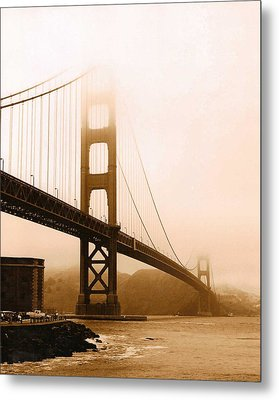 Foggy Golden Gate In Sepia Metal Print by Rhonda Jackson