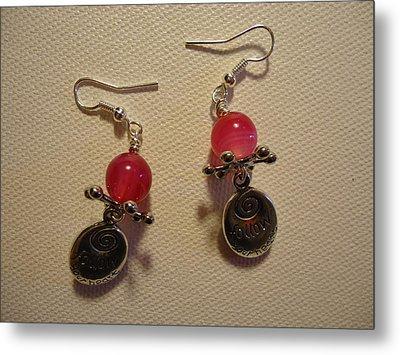 Follow Your Heart Pink Earrings Metal Print by Jenna Green