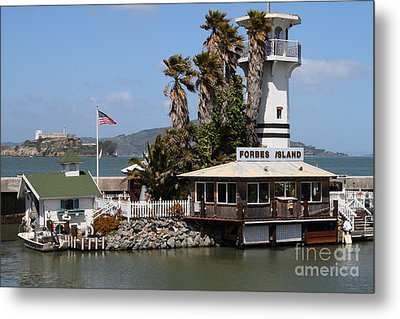 Forbes Island Restaurant With Alcatraz Island In The Background . San Francisco California . 7d14261 Metal Print by Wingsdomain Art and Photography