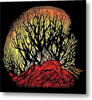 Forest Fire, Lino Print Metal Print by Gary Hincks
