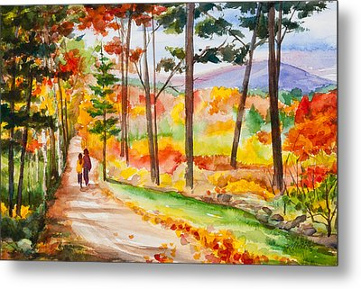 Forever Autumn Watercolor Painting Metal Print by Michelle Wiarda