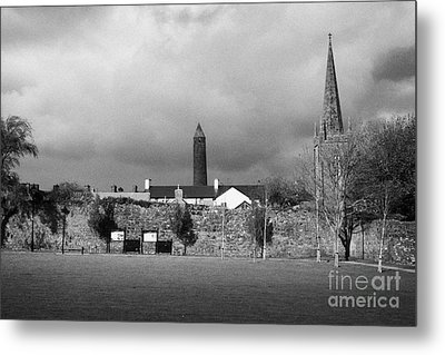 Former Castle And Bishops Palace And Workhouse Site With Cathedral And Round Tower Killala Metal Print by Joe Fox