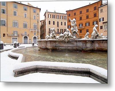 Fountain Of Neptune Metal Print by Fabrizio Troiani