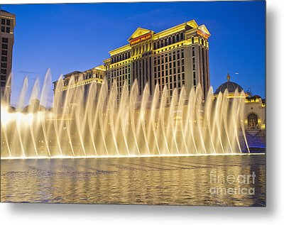 Fountains Of Bellagio In Front Of Caesar's Palace Hotel And Casi Metal Print by Andre Babiak
