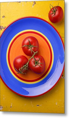 Four Tomatoes  Metal Print by Garry Gay