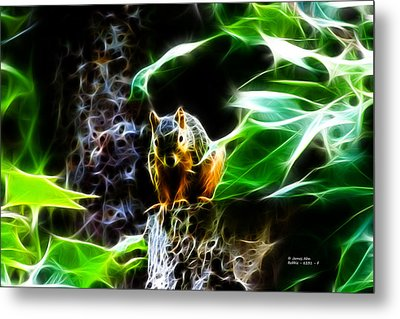 Fractal - Sitting On A Stump - Robbie The Squirrel - 2831 Metal Print by James Ahn