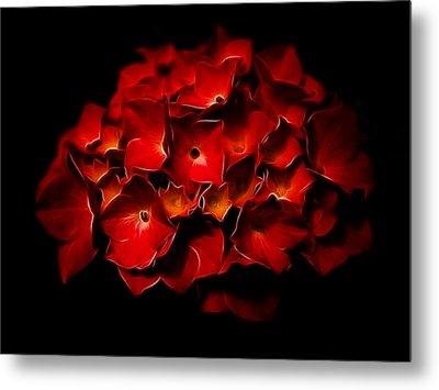 Fractalius Red Hydrangea Metal Print by Jay Lethbridge