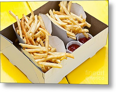 French Fries In Box Metal Print by Elena Elisseeva