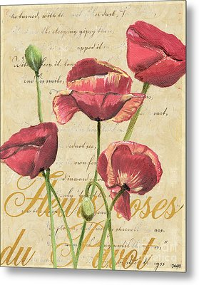 French Pink Poppies 2 Metal Print by Debbie DeWitt