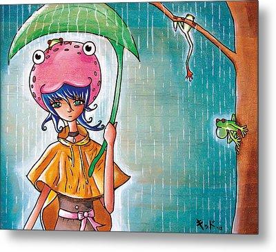 Frog Girl Metal Print by Jen Kiddo