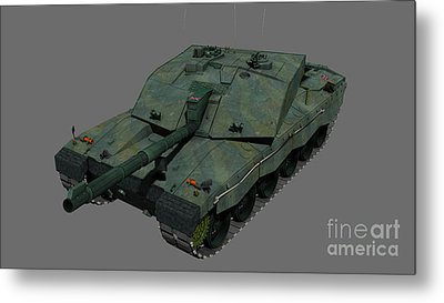 Front View Of A British Challenger II Metal Print by Rhys Taylor