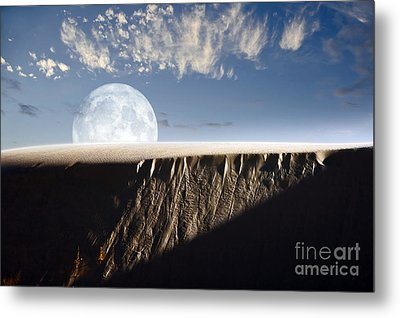 Full Moon Rising Above A Sand Dune Metal Print by Roth Ritter