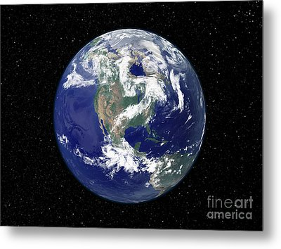 Fully Lit Earth Centered On North Metal Print by Stocktrek Images