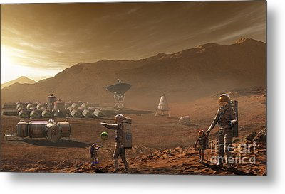 Future Mars Colonists Playing Metal Print by Steven Hobbs