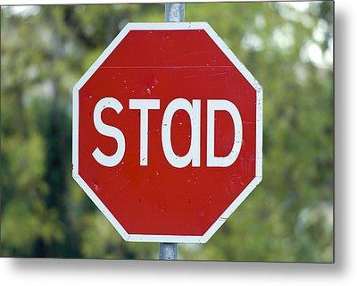 Gaelic Stop Sign Near Doocharry Metal Print by Rich Reid