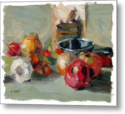 Garlic And Tomatoes Metal Print by William Noonan