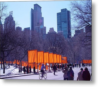 Gates And Snow In Central Park Metal Print by Alton  Brothers